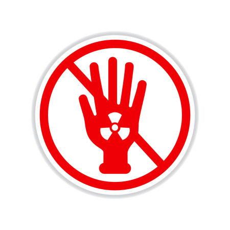 radiactividad: paper sticker on white background dangerous radioactivity