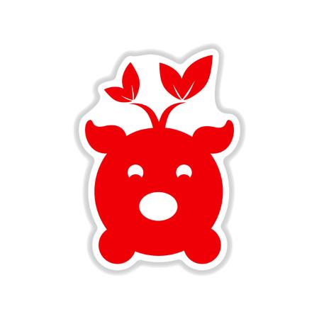paper sticker on white background  eco pig