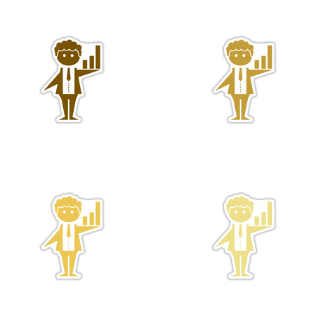 Set of paper stickers on white background businessman schedule