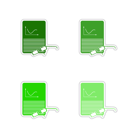 infomation: Set of paper stickers on white background economic report Illustration