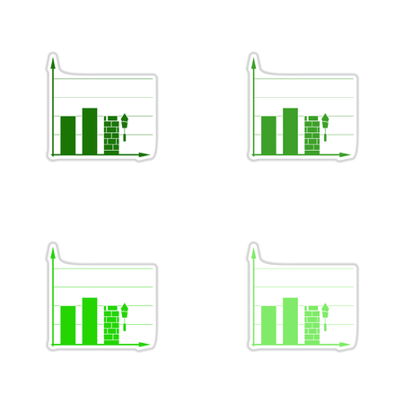 building planners: Set of paper stickers on white background construction schedule Illustration