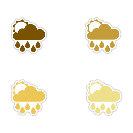 forecaster: Set of paper stickers on white background sun clouds rain