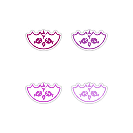 Set of paper stickers on white background fish water