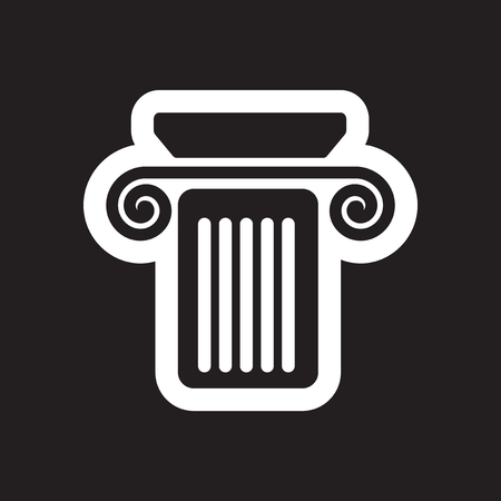 doric: Flat icon in black and white style column