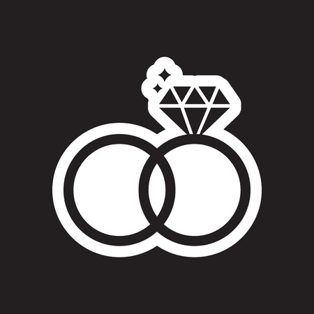 Flat icon in black and white style wedding rings