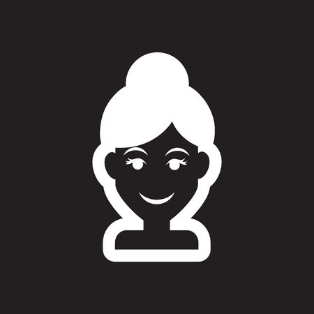 Flat icon in black and white style womens haircut