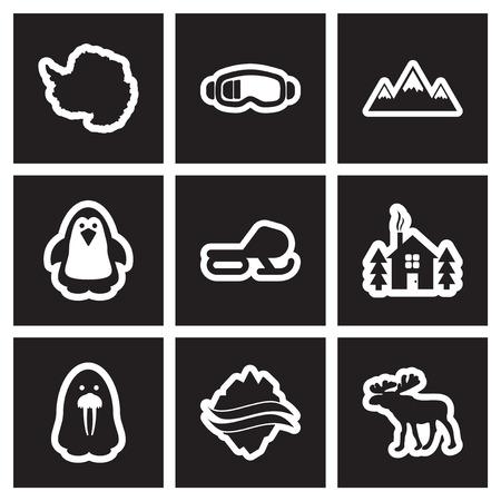 Set van platte pictogram in Arctische stijl in zwart-wit
