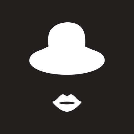 Flat icon in black and white female hat lips