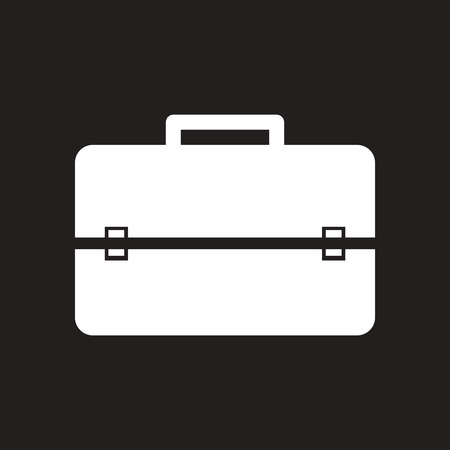Flat icon in black and white business bag