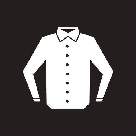 Flat icon in black and white men shirt Stock Illustratie