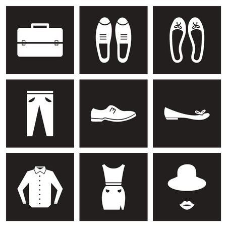 Concept flat icons in black and white clothes