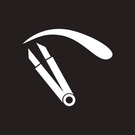 Flat icon in black and white eyebrow tweezers Illustration