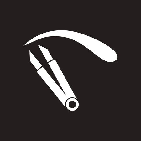 Flat icon in black and white eyebrow tweezers Illustration