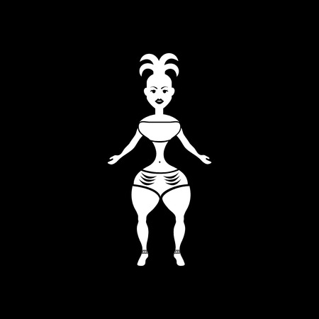 Flat icon in black and white carnival dancer Illustration