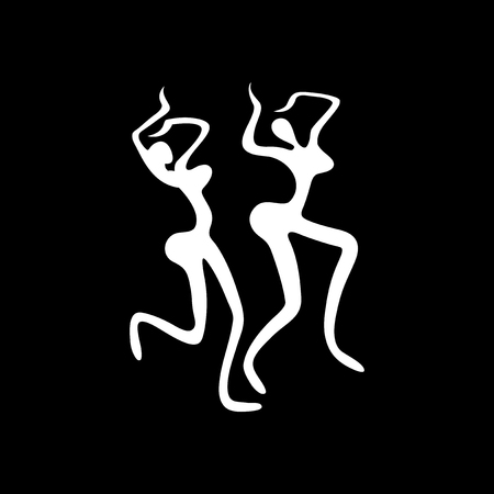Flat icon in black and white carnival dancers Illustration