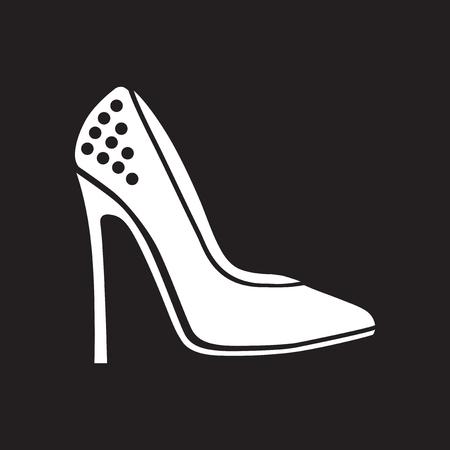 heelpiece: Flat icon in black and white stilettos