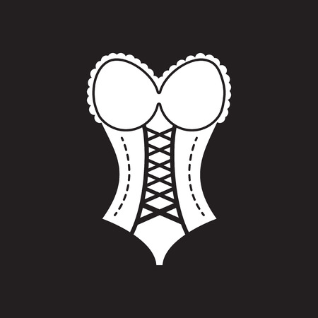 Flat icon in black and white women corset