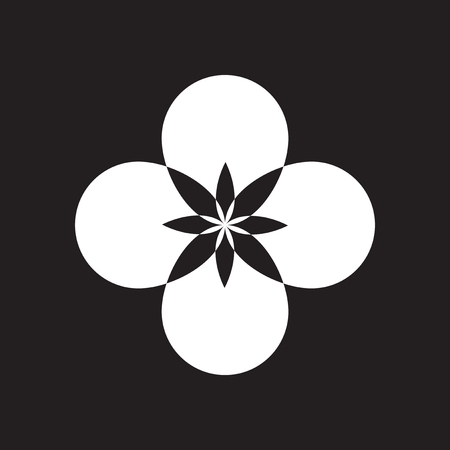 Flat icon in black and white flower