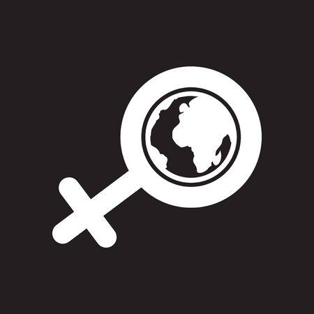 Platte pictogram in zwart-wit vrouwelijk teken