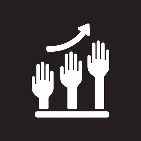 Flat icon in black and white hand graph Stock Illustratie