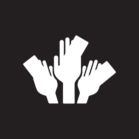 Flat icon in black and white money hands Stock Illustratie