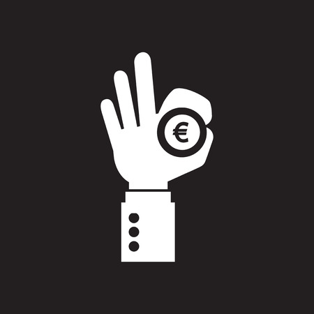 Flat icon in black and white arm coin Stock Illustratie