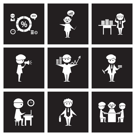 black people: Concept flat icons in black and white business people Illustration