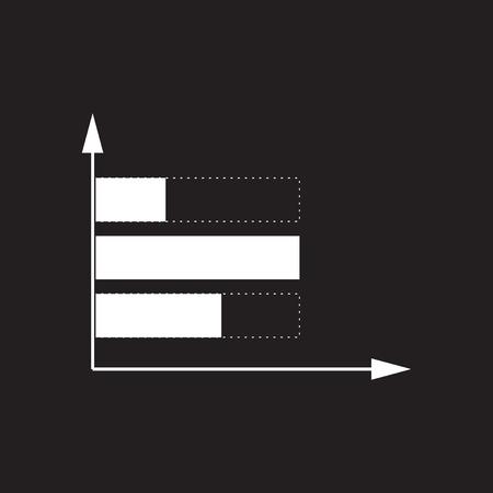 Flat icon in black and white economic graph