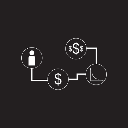 Flat icon in black and white economic infographics