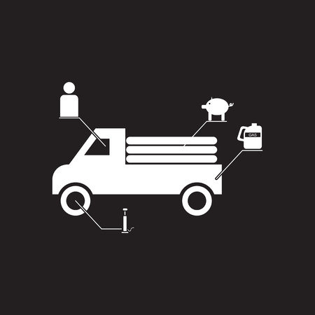 Car Transmission: Flat icon in black and white car infographics Illustration
