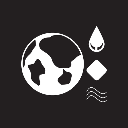 Flat icon in black and white eco Infographic Illustration