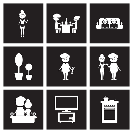 Concept flat icons in black and white love family life