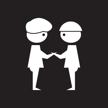 Flat icon in black and white business partners Stock Illustratie