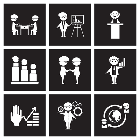 Concept flat icons in black and white economy Stock Illustratie