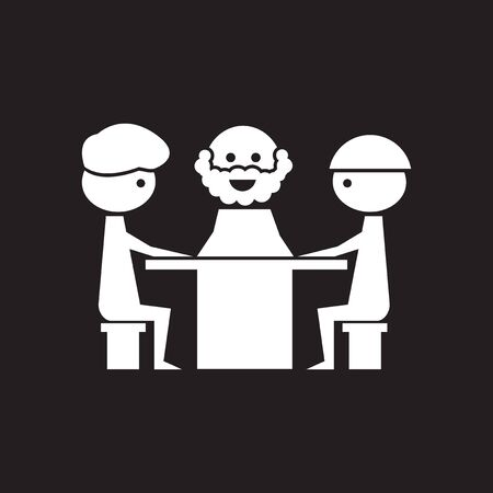Flat icon in black and white business meeting Stock Illustratie