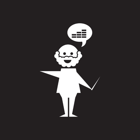 Flat icon in black and white Man schedule