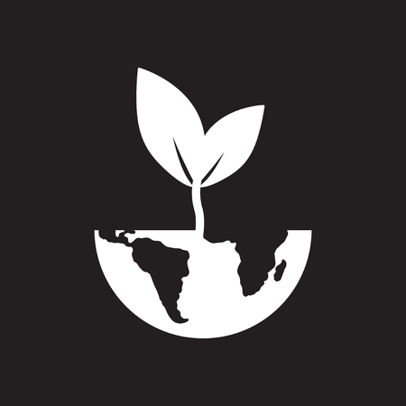 Flat icon in black and white earth sprout