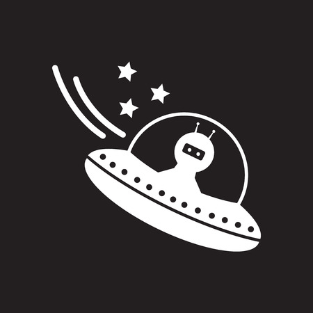 Flat icon in black and  white UFO Illustration