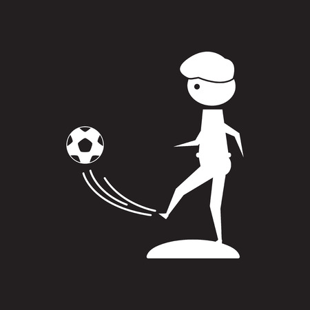 Flat icon in black and white football player Illustration