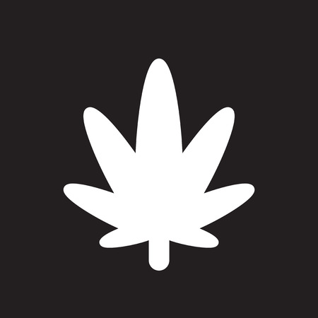 Flat icon in black and white cannabis Illustration