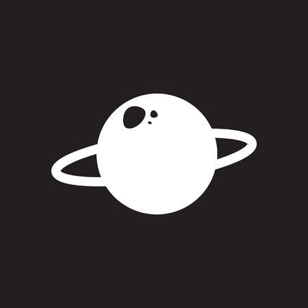 Flat icon in black and white planet