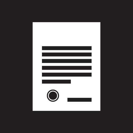 indenture: Flat icon in black and white document