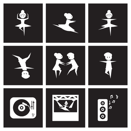 Concept flat icons in black and white dancing