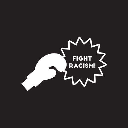 Flat icon in black and white fight racism