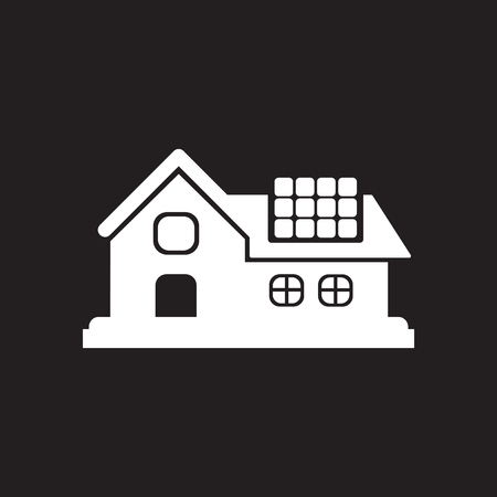 Flat icon in black and white Eco-house