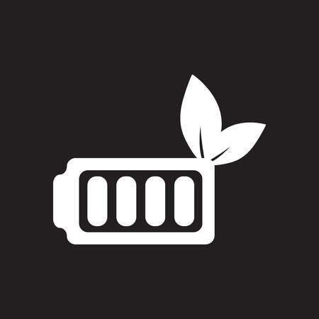 Flat icon in black and white eco battery Stock Illustratie