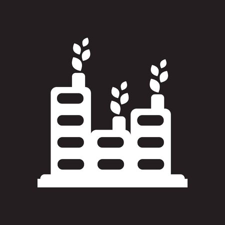 Flat icon in black and white eco factory