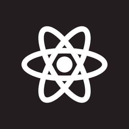 Flat icon in black and white atom