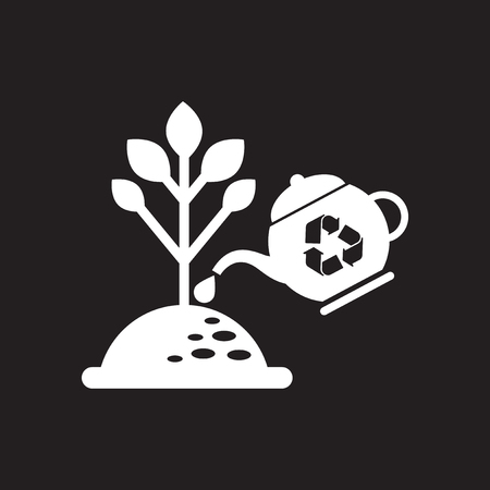Flat icon in black and white tree watering