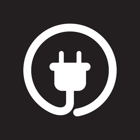 Flat icon in black and white power socket Stock Illustratie